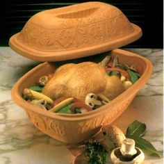 Romertopf Chicken Meat Fish Brick Oven Stove Clay Terracotta Baking Roasting Pot Bakeware & Ovenware