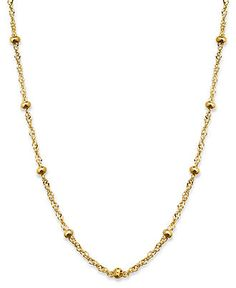 """Giani Bernini 24k Gold over Sterling Silver Necklace, 20"""" Small Ball Singapore Chain Necklace - Necklaces - Jewelry & Watches - Macy's"""