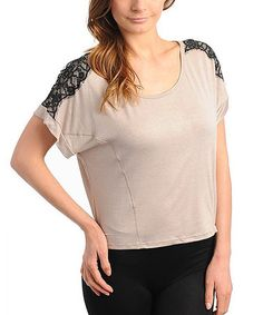 Take a look at this Mocha & Black Lace Shoulder Top - Women by Buy in America on #zulily today!