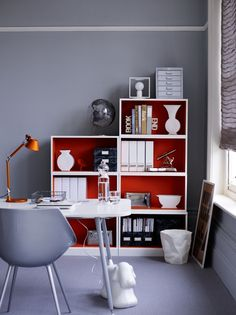Not sure what colors to paint your home office? Check these best recommendations of home office paint color ideas to beautify room & increase productivity. Home Office Design, Home Office Decor, Diy Home Decor, House Design, Office Ideas, Ikea Office, Ikea Desk, Office Office, Office Cubicles