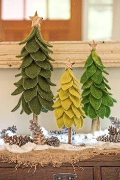 Christmas Mantel Decor: Felted Wool Trees, Set of 3
