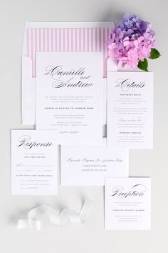 Pink Classic and Elegant Wedding Invitations with Striped Envelope Liner