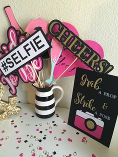 Bridal Shower Photo Booth Props | Photo Booth Props | Kate Spade Inspired Bridal Shower Decorations | Bridal Shower Decorations | Photo Prop by CMCraftStudio on Etsy https://www.etsy.com/listing/470597145/bridal-shower-photo-booth-props-photo