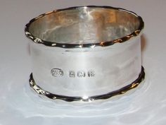 A nice sterling silver napkin ring, excellent for a christening. Visit www.vintagetom.co.uk for similar items to this