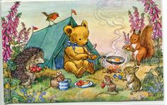 Dressed animal fantasy,  Teddy's Tent  vintage postcard by Molly Brett, Pk 366 by sharonfostervintage on Etsy
