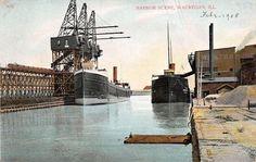 Waukegan Illinois Harbor Scene Western Building Loading SHIP 1908 Postcard | eBay