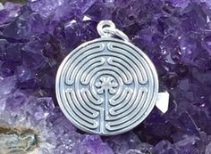 Labyrinth Charm, Etched Labyrinth Charm, Maze Charm, Sterling Silver Charm, Necklace Charm