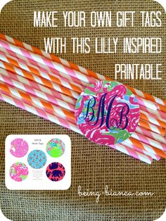 Lilly Pulitzer Inspired Tags - cute preppy round tags.  Free Printable! #prep