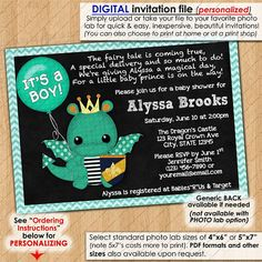 Dragon Baby Shower Invitations Chalkboard Sparky Boys boy party dragons chalk board Custom Personalized DIGITAL INVITATION Design #197
