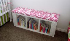 All Things Campbell: Bookshelf to Bookbench Transformation - Not my style, but I like the idea of gussying up a cheap shelf to make a book case.