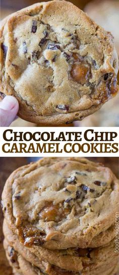 Caramel Chocolate Chip Cookies made with chocolate chunks and chewy caramel bits are the perfect cookie for your Christmas cookie plate!