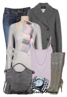feat. Premier Designs jewelry #pdstyle jeans, grey boots, bag, tee, and coat, pink cami.