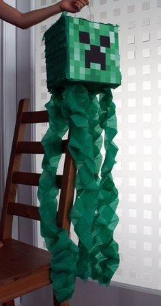 minecraft party, minecraft creeper pinata is super easy to make!