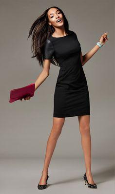 black ponte-knit dress - faux leather