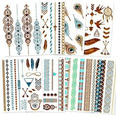 Metallic Temporary Tattoos For Women -- Over 80 Flash Tattoos (8 Sheets of Gold and Silver Foil Metallic Tattoo Jewelry) * Additional info @ http://www.amazon.com/gp/product/B01CPXDJZW/?tag=passion4fashion003e-20&fg=080816025347