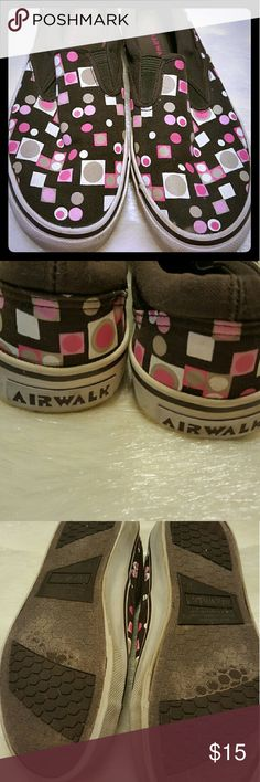 Airwalk Slip Ons Fun pink and brown geometric patterned slip ons, perfect accessory to brighten up an outfit Airwalk Shoes Sneakers