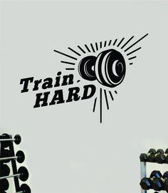 Train Hard V6 Decal Sticker Wall Vinyl Art Wall Bedroom Room Home Decor Inspirational Motivational Teen Sports Gym Fitness Health Beast - pink