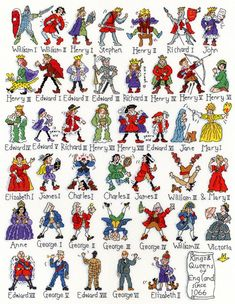 Kings and Queens - cross stitch kit by Bothy Threads - A poster style picture of all the Kings and Queens of England since starting with William the Conqueror in his armour to the present Queen with her handbag and corgis. Counted Cross Stitch Kits, Cross Stitch Embroidery, Cross Stitch Patterns, Blackwork, Royal Family Trees, Bothy Threads, Templer, Queen Of England, British History