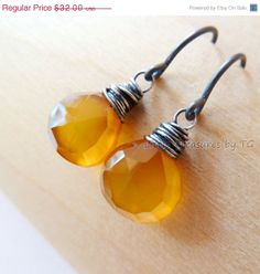SALE Amber Chalcedony Oxidized silver drop earrings by TatianaG, $27.20