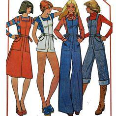 Vintage 70s Womens JUMPSUIT Jumper & Romper Pattern/ Overall Romper w/ Bell Legs / Jumper Dress Pattern / McCalls 5125 Bust 34. $22.00, via Etsy.