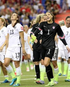 Alex Morgan and Hope Solo celebrate the victory against Germany Girls Soccer Team, Female Football Player, Soccer League, Play Soccer, Hope Solo, Football Players Images, Jesus Reyes, Soccer Memes, Soccer Quotes