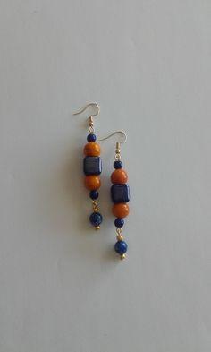 Dangle & drop earrings with ceramic, resin and semiprecious beads (howlite and greenstone)/ Boho earrings / Hippy earrings / Beaded earrings Beaded Earrings, Drop Earrings, Hippy, Resin, Dangles, Ceramics, Beads, Shop, Handmade