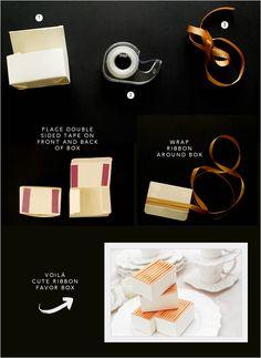 ribbon wrapped favor boxes