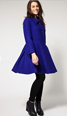 ASOS Curve Blue Swing Coat. Mine is black and I get lots a compliments. Not a typical wool dress coat.