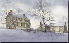 Ray Hendershot Breaking Light Country Farm Winter Landscape Print Poster 12x12