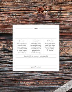 Printable - Minimalist Wedding Menu by hyssopdesign on Etsy
