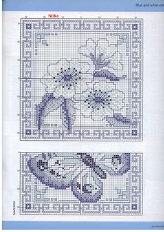 cross stitch gold blue and white card
