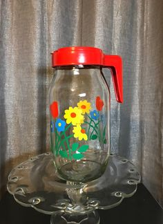$12 Vintage Red Tulip Glass Pitcher Carlton Glass - Mercari: The Selling App