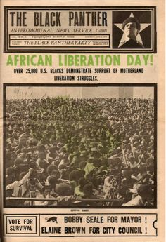 """""""African Liberation Day! Over 25,000 U.S. Blacks Demonstrate Support of Motherland Liberation Struggles,"""" The Black Panther, June 3, 1972."""