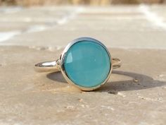Pale Blue Zircon Sterling Silver Round Stone Ring by LavantaBay