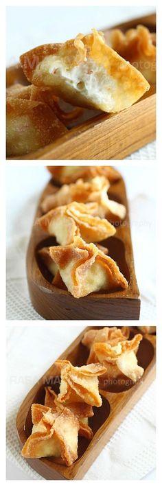 Cream cheese wontons or crab Rangoon. 3 ingredients, super fast, easy, and yummy   rasamalaysia.com