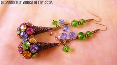 Antique Assemblage Earrings Rhinestone by RomanticallyVintage, $61.50
