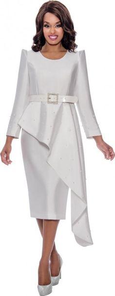 Nubiano DN1981 White Asymmetrical Church Dress