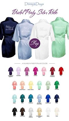Bridal Party Satin Robes : in 25 different colors to match your wedding. Great gift idea and looks great for photos before the fancy dresses are put on  / as seen on www.BrendasWeddingBlog.com