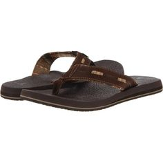 Sanuk Beer Cozy Split (Chocolate) Men's Sandals ($33) ❤ liked on Polyvore featuring men's fashion, men's shoes, men's sandals, brown, mens rubber shoes, mens yoga shoes and sanuk mens shoes