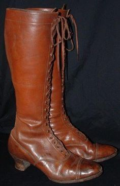 A rare pair of c. 1900 early Edwardian high bicycling boots made from supple brown leather with the original shoe laces.