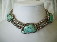 Vintage NAVAJO Sterling Silver & TURQUOISE Choker NECKLACE, Big Navajo Pearls.  TurquoiseKachina, $379.00