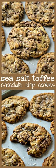 Chewy chocolate chip cookies are given a gourmet makeover with the addition of toffee bits and a sprinkle of sea salt