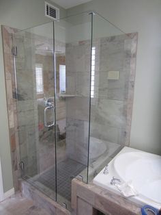 Frameless Glass Shower Enclosure Installation With 90 Degree Return Panel  And Notch Around Pony Wall In Hillcrest.