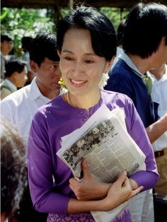 "Aung San Suu Kyi - Nobel Peace Prize 1991 awarded for her ""non-violent struggle for democracy and human rights"""