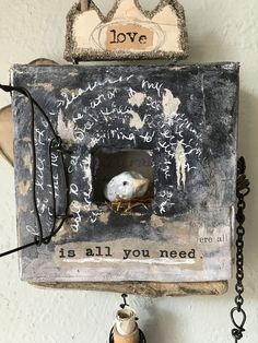 """Items similar to Online Workshop Instructional Class Mixed Media Bird canvas .""""becoming"""" on Etsy Drawing Desk, Bird Canvas, Clay Birds, Sand Crafts, Assemblage Art, Box Art, Art Boxes, Walking In Nature, Diy Arts And Crafts"""