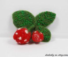 strawberry   wool needle felted brooch