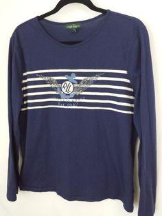 Ralph Lauren T Shirt XL 100% Cotton Navy Blue  #RalphLauren #EmbellishedTee