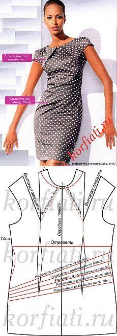 Elegante vestido de guisantes con pliegues en el cuello y lado de la falda de…