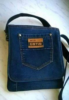 Jean Purses, Purses And Bags, Men's Bags, Tote Bags, Denim Bag Patterns, Denim Purse, Denim Crafts, Recycled Denim, Leather Purses