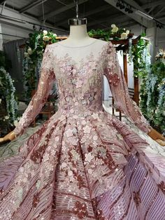 Ostty Pink Long Sleeve Wedding Gowns Flower 16 Party Dress OS0337 Wedding Dresses With Flowers, Wedding Gowns With Sleeves, Wedding Dress Train, Luxury Wedding Dress, Applique Wedding Dress, Long Sleeve Wedding, Dresses With Sleeves, Ball Dresses, Prom Dresses